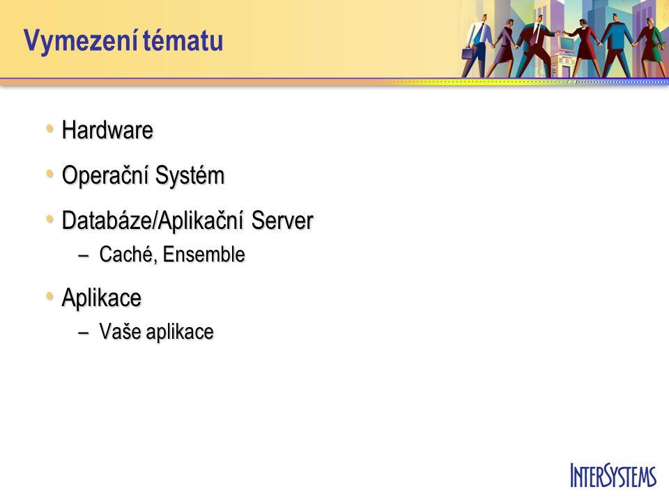 Vymezení tématu Hardware Hardware Operační Systém Operační Systém Databáze/Aplikační Server Databáze/Aplikační Server –Caché, Ensemble Aplikace Aplika