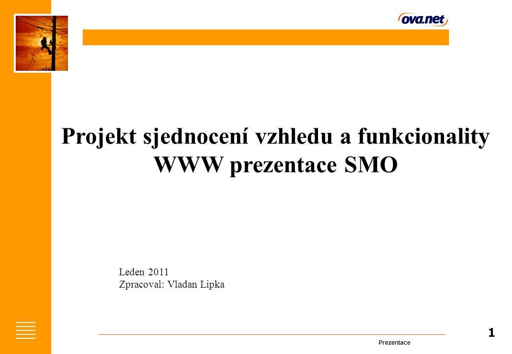 Prezentace 1 Projekt sjednocení vzhledu a funkcionality WWW prezentace SMO Leden 2011 Zpracoval: Vladan Lipka