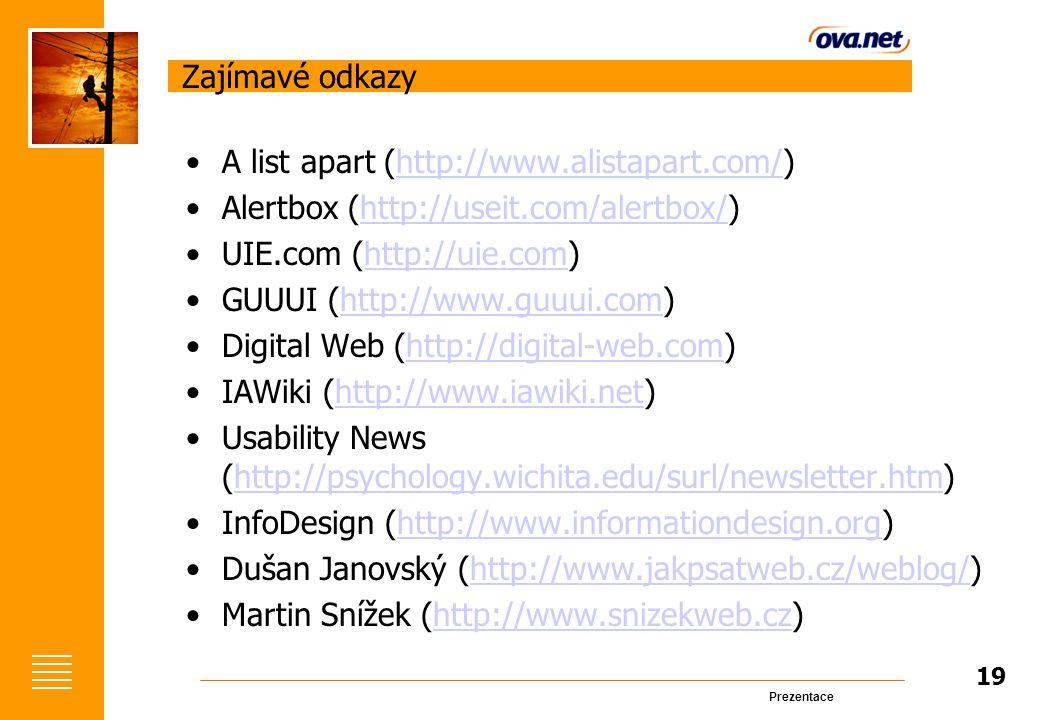 Prezentace Zajímavé odkazy A list apart (http://www.alistapart.com/)http://www.alistapart.com/ Alertbox (http://useit.com/alertbox/)http://useit.com/alertbox/ UIE.com (http://uie.com)http://uie.com GUUUI (http://www.guuui.com)http://www.guuui.com Digital Web (http://digital-web.com)http://digital-web.com IAWiki (http://www.iawiki.net)http://www.iawiki.net Usability News (http://psychology.wichita.edu/surl/newsletter.htm)http://psychology.wichita.edu/surl/newsletter.htm InfoDesign (http://www.informationdesign.org)http://www.informationdesign.org Dušan Janovský (http://www.jakpsatweb.cz/weblog/)http://www.jakpsatweb.cz/weblog/ Martin Snížek (http://www.snizekweb.cz)http://www.snizekweb.cz 19