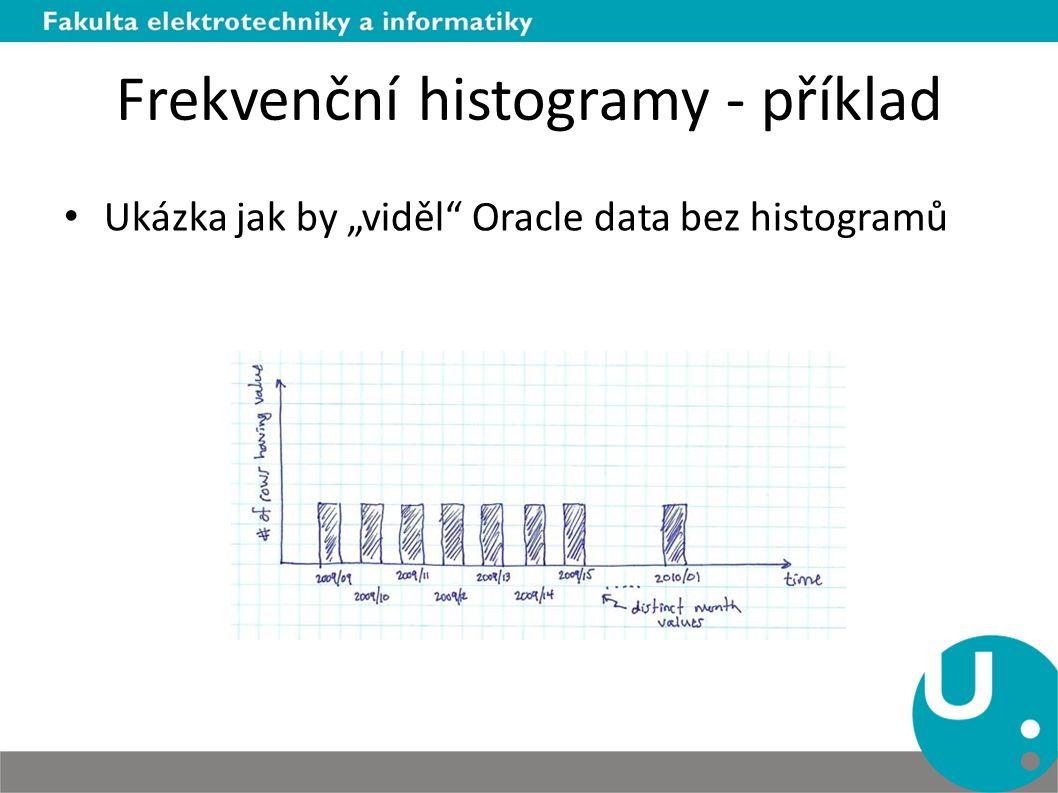 """Frekvenční histogramy - příklad Ukázka jak by """"viděl"""" Oracle data bez histogramů"""