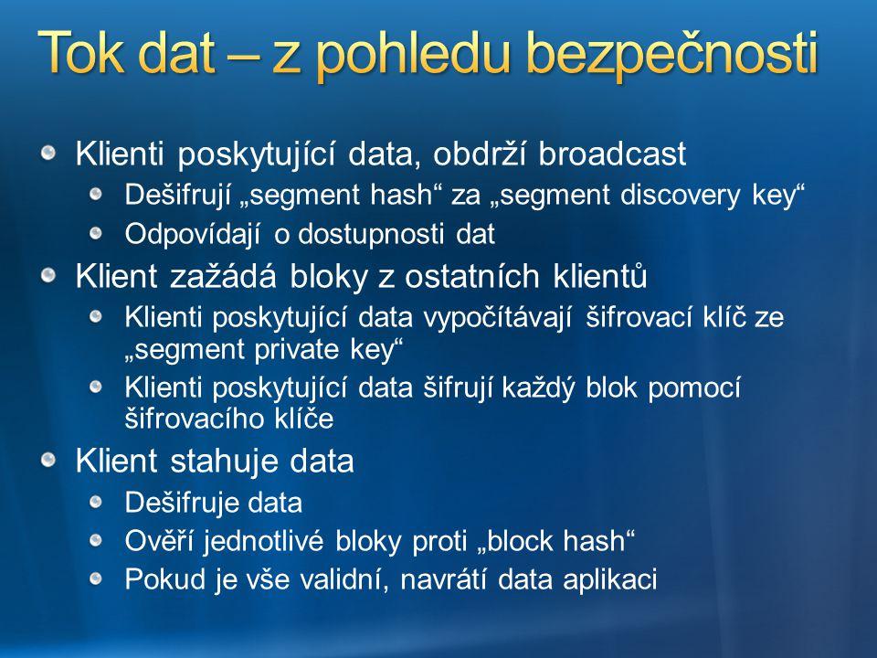 """Klienti poskytující data, obdrží broadcast Dešifrují """"segment hash"""" za """"segment discovery key"""" Odpovídají o dostupnosti dat Klient zažádá bloky z osta"""