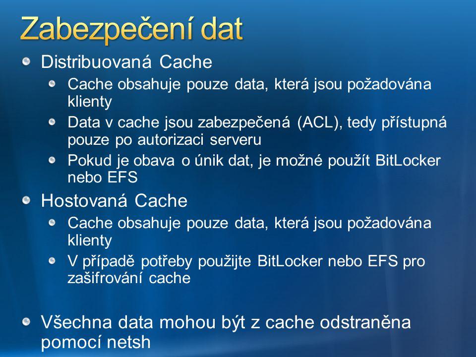 Distribuovaná Cache Cache obsahuje pouze data, která jsou požadována klienty Data v cache jsou zabezpečená (ACL), tedy přístupná pouze po autorizaci s