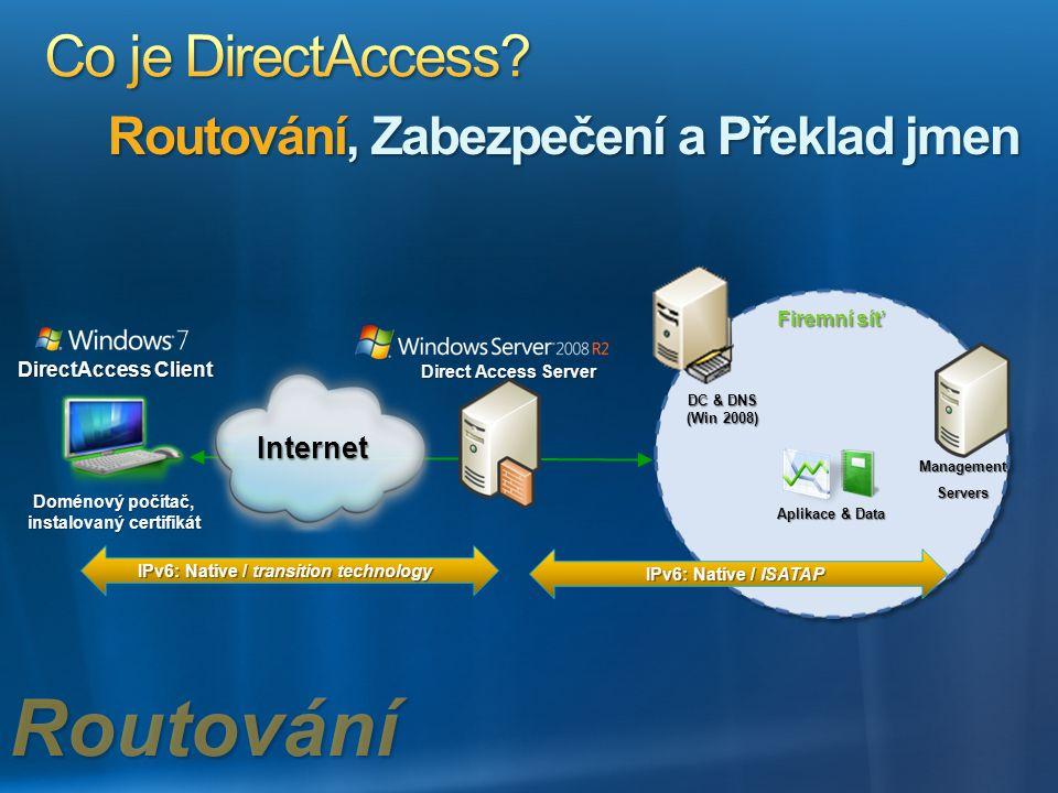 DirectAccess Client Doménový počítač, instalovaný certifikát Firemní síť Aplikace & Data DC & DNS (Win 2008) Internet Direct Access Server IPv6: Nativ