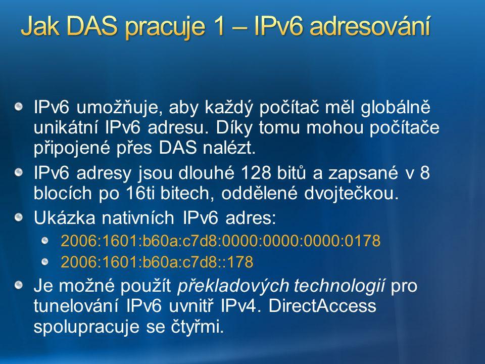 IPv6 umožňuje, aby každý počítač měl globálně unikátní IPv6 adresu. Díky tomu mohou počítače připojené přes DAS nalézt. IPv6 adresy jsou dlouhé 128 bi