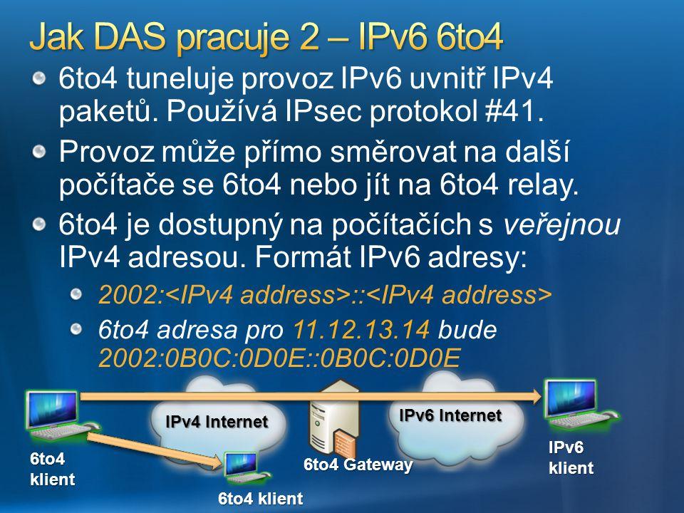 6to4 tuneluje provoz IPv6 uvnitř IPv4 paketů. Používá IPsec protokol #41. Provoz může přímo směrovat na další počítače se 6to4 nebo jít na 6to4 relay.