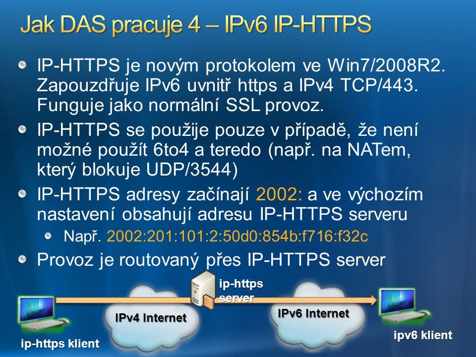 IP-HTTPS je novým protokolem ve Win7/2008R2. Zapouzdřuje IPv6 uvnitř https a IPv4 TCP/443. Funguje jako normální SSL provoz. IP-HTTPS se použije pouze