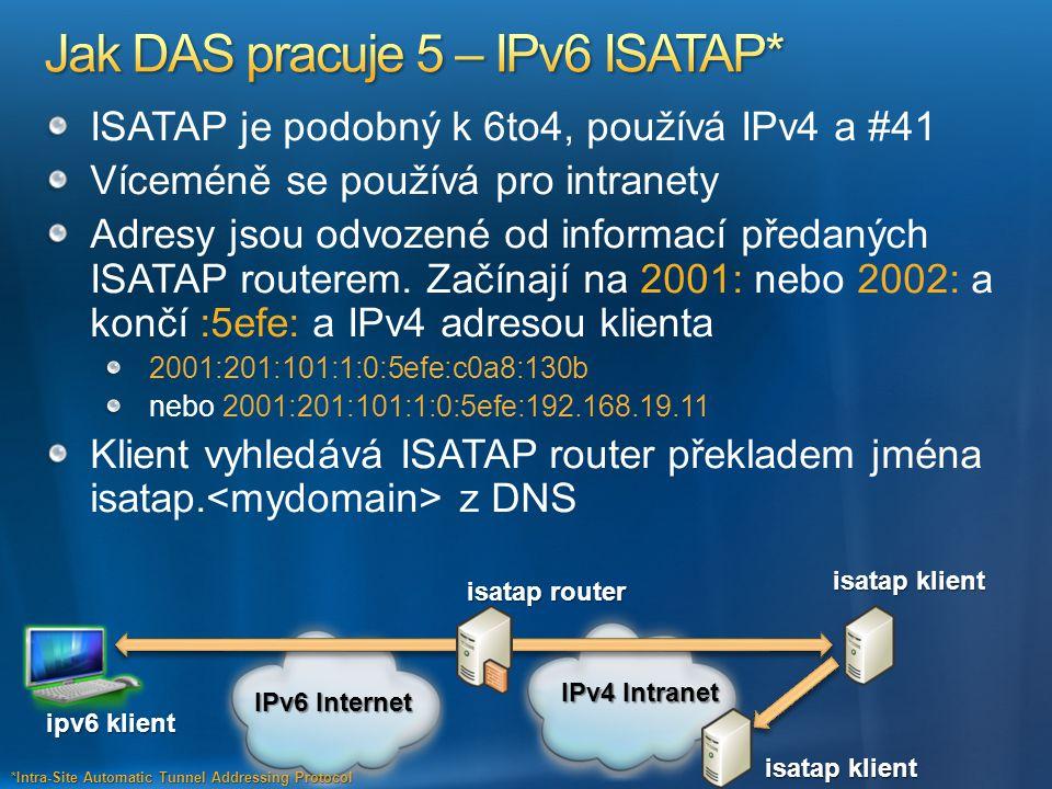 ISATAP je podobný k 6to4, používá IPv4 a #41 Víceméně se používá pro intranety Adresy jsou odvozené od informací předaných ISATAP routerem. Začínají n