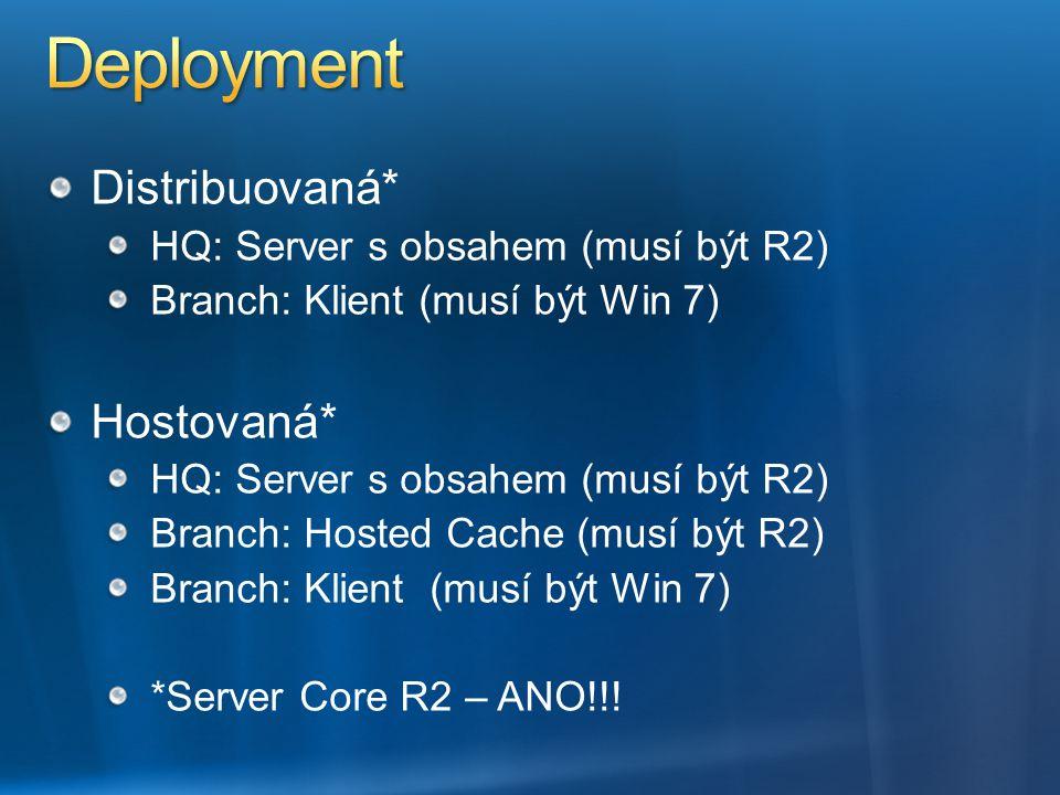 Distribuovaná* HQ: Server s obsahem (musí být R2) Branch: Klient (musí být Win 7) Hostovaná* HQ: Server s obsahem (musí být R2) Branch: Hosted Cache (