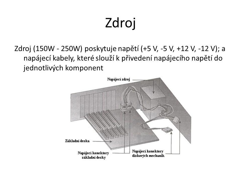 Zdroj Zdroj (150W - 250W) poskytuje napětí (+5 V, -5 V, +12 V, -12 V); a napájecí kabely, které slouží k přivedení napájecího napětí do jednotlivých komponent