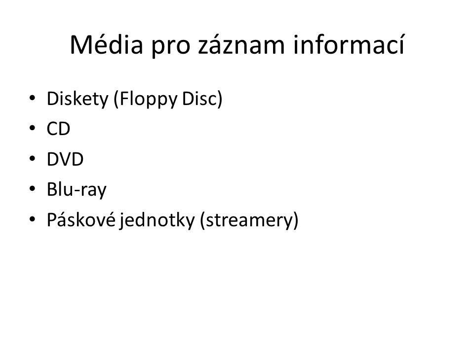 Média pro záznam informací Diskety (Floppy Disc) CD DVD Blu-ray Páskové jednotky (streamery)
