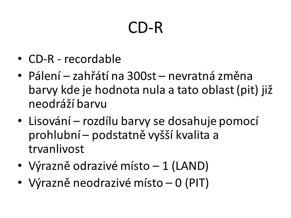 CD-R CD-R - recordable Pálení – zahřátí na 300st – nevratná změna barvy kde je hodnota nula a tato oblast (pit) již neodráží barvu Lisování – rozdílu barvy se dosahuje pomocí prohlubní – podstatně vyšší kvalita a trvanlivost Výrazně odrazivé místo – 1 (LAND) Výrazně neodrazivé místo – 0 (PIT)