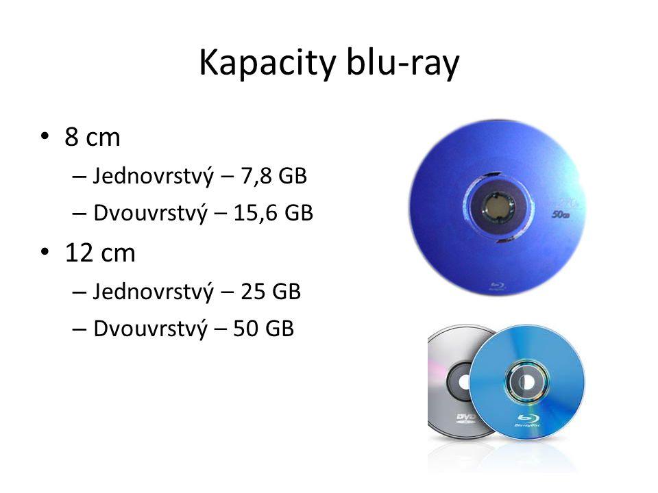 Kapacity blu-ray 8 cm – Jednovrstvý – 7,8 GB – Dvouvrstvý – 15,6 GB 12 cm – Jednovrstvý – 25 GB – Dvouvrstvý – 50 GB