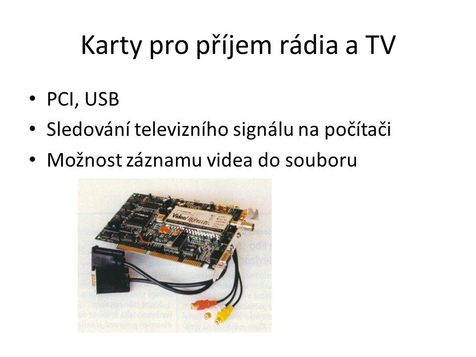 Karty pro příjem rádia a TV PCI, USB Sledování televizního signálu na počítači Možnost záznamu videa do souboru