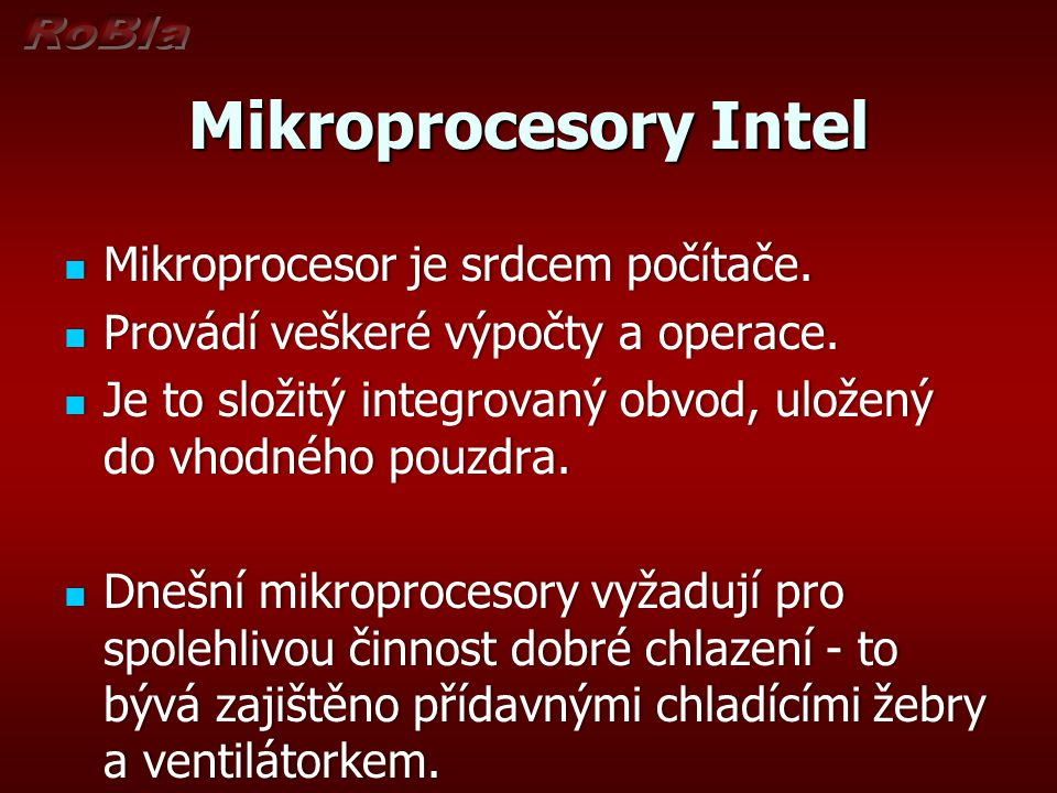 Modelová řada mikroprocesorů firmy Intel Pentium Itanium - Procesor určený pro servery.