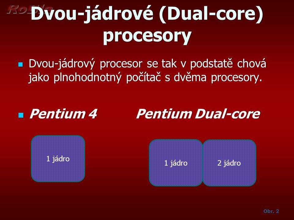 Dvou-jádrové (Dual-core) procesory Dvou-jádrový procesor se tak v podstatě chová jako plnohodnotný počítač s dvěma procesory. Dvou-jádrový procesor se