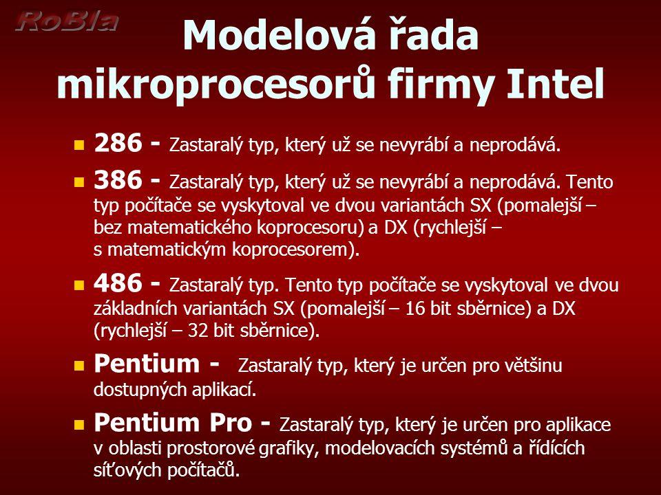 Modelová řada mikroprocesorů firmy Intel 286 - Zastaralý typ, který už se nevyrábí a neprodává. 386 - Zastaralý typ, který už se nevyrábí a neprodává.
