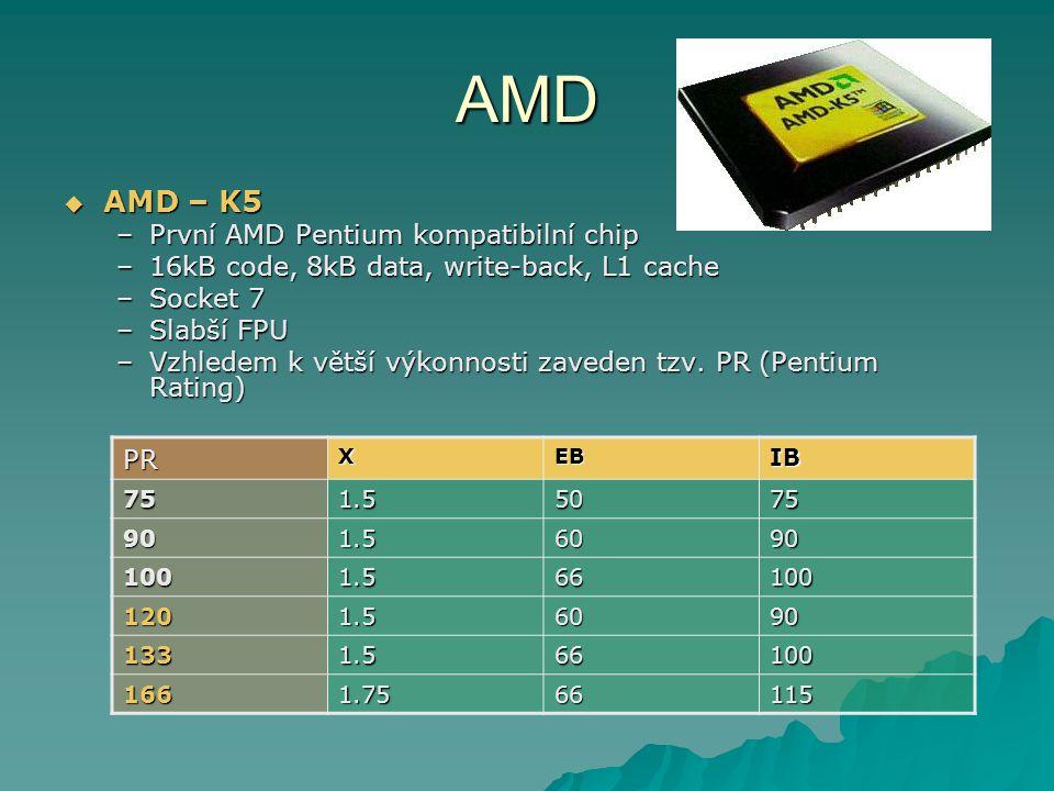 AMD  AMD – K5 –První AMD Pentium kompatibilní chip –16kB code, 8kB data, write-back, L1 cache –Socket 7 –Slabší FPU –Vzhledem k větší výkonnosti zaveden tzv.