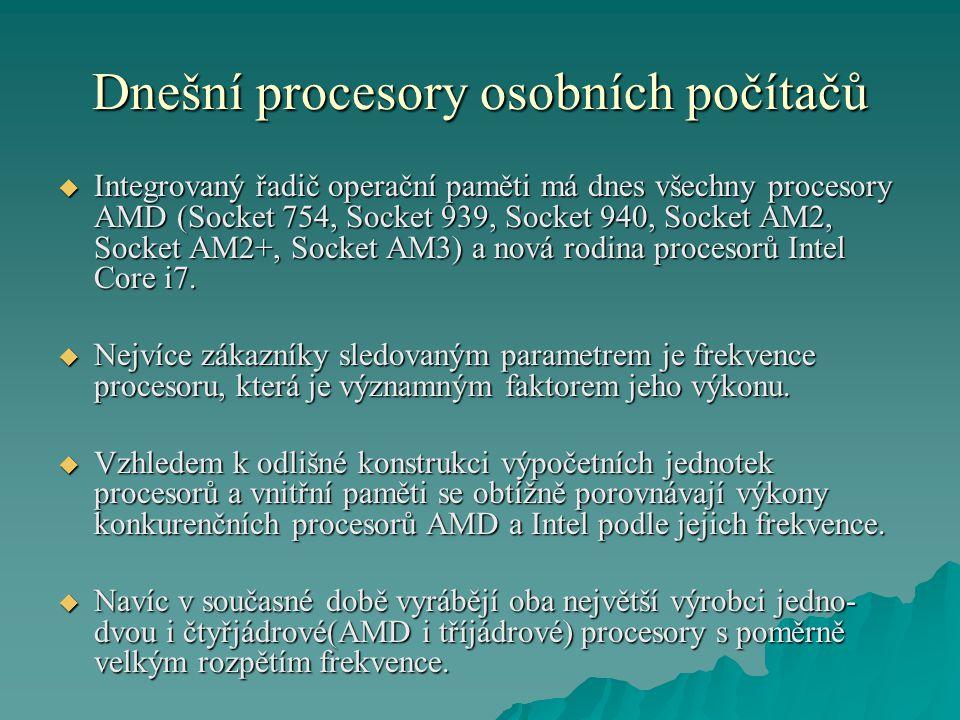 Dnešní procesory osobních počítačů  Integrovaný řadič operační paměti má dnes všechny procesory AMD (Socket 754, Socket 939, Socket 940, Socket AM2,