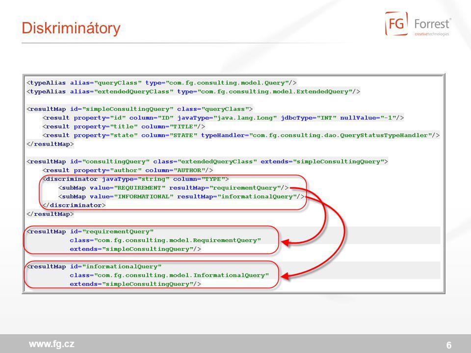 iBator generátor kódu pro iBatis z existující relační struktury: vygeneruje kód POJO class SqlMap.xml obsahující CRUD dotazy DAO interface a implementaci (podpora pro Spring variantu) může být použit jednorázově na začátku projektu opakovaně i v rámci build cyklu Podporované use-case Command-line Ant Java API 17 www.fg.cz