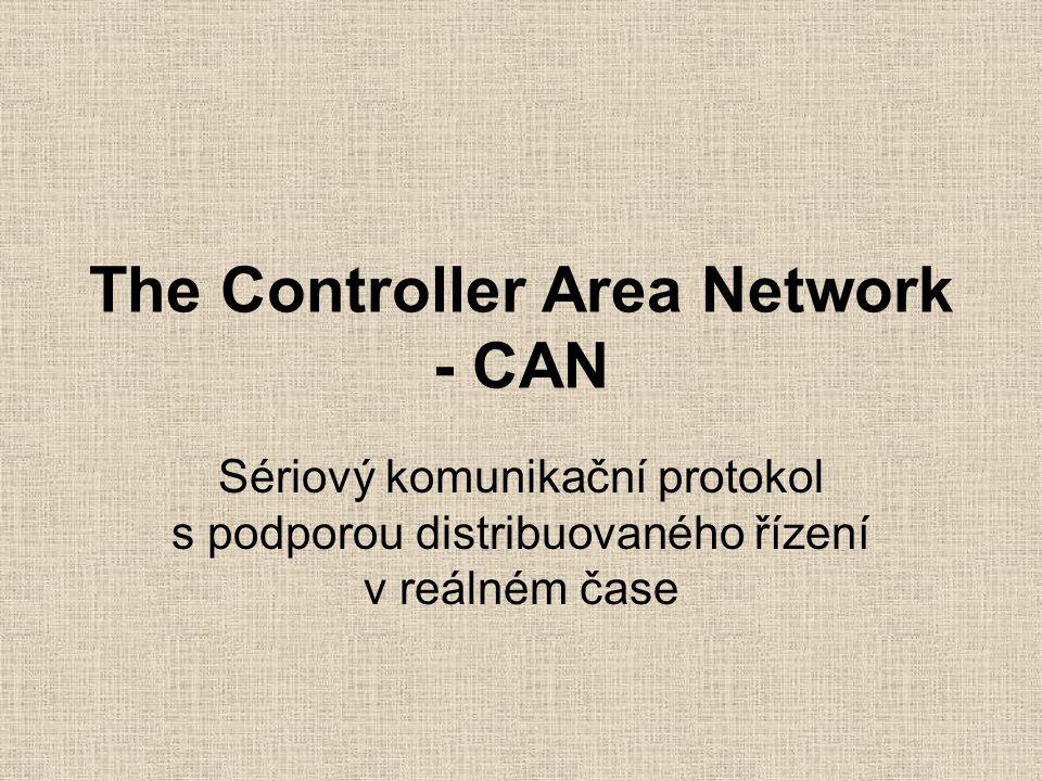 Základní charakteristiky sdílená broadcast sběrnice s prioritní rozhodování na základě identifikátoru zprávy zaručená doba odezvy systému multimaster režim - libovolný uzel může vyslat komunikační rámec komunikace prostřednictvím rámců s maximální délkou přenášených dat datového rámce 8bytů detekce chyb a automatické znovuodvysílání poškozených rámců autonomní odpojení poškozených jednotek libovolná přenosová rychlost až do 1Mb/ definovány normy CAN2.0A a CAN2.0B - 11 a 29bitový identifikátor