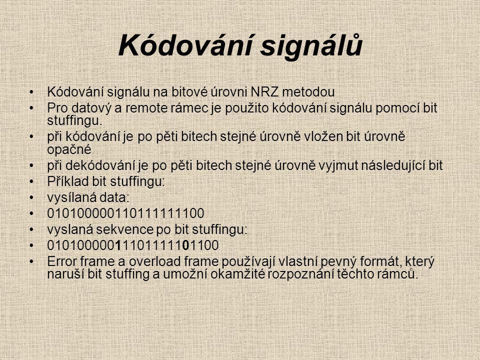 Kódování signálů Kódování signálu na bitové úrovni NRZ metodou Pro datový a remote rámec je použito kódování signálu pomocí bit stuffingu.