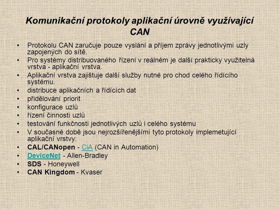 Komunikační protokoly aplikační úrovně využívající CAN Protokolu CAN zaručuje pouze vyslání a příjem zprávy jednotlivými uzly zapojených do sítě.