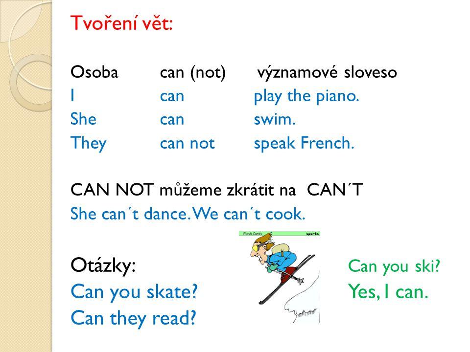 Tvoření vět: Osoba can (not) významové sloveso Icanplay the piano. Shecanswim. Theycan notspeak French. CAN NOT můžeme zkrátit na CAN´T She can´t danc