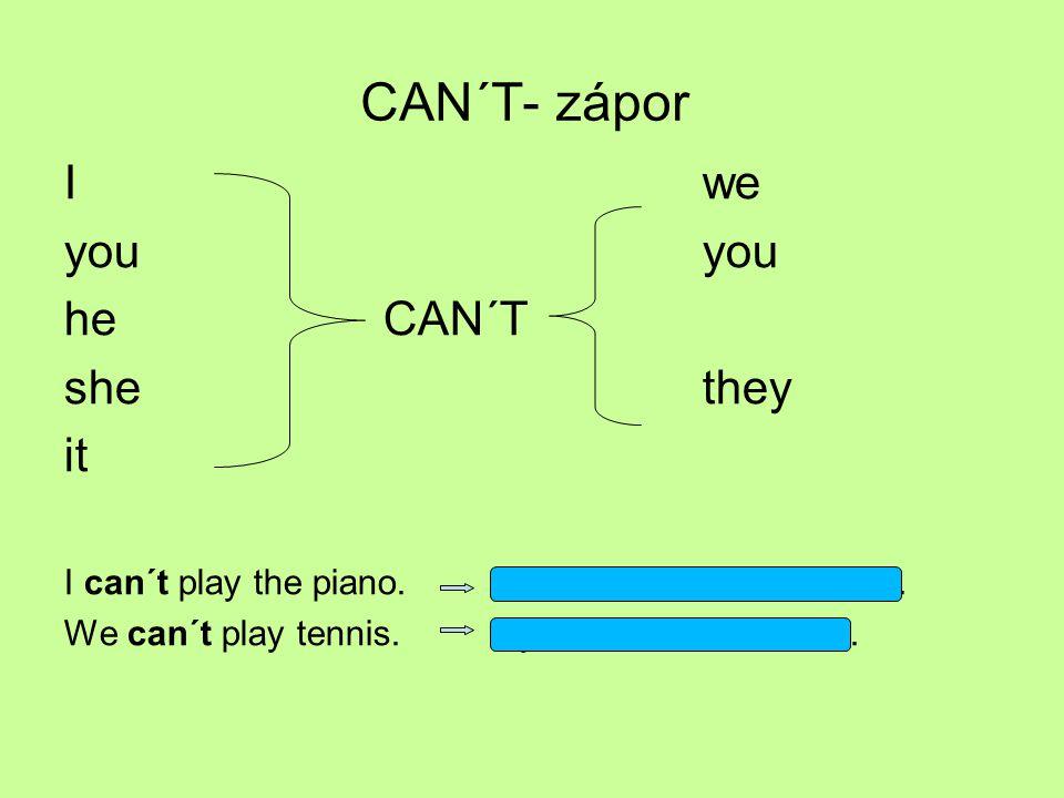 CAN´T- zápor Iweyou he CAN´T she they it I can´t play the piano. Já meumám hrát na klavír. We can´t play tennis. My neumíme hrát tenis.