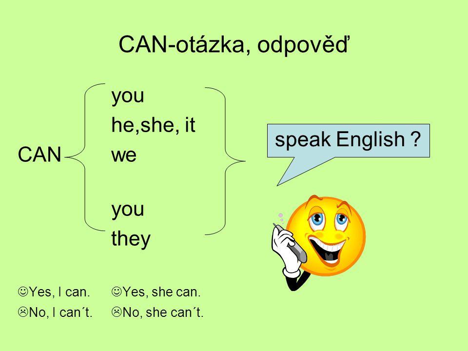 CAN-otázka, odpověď you he,she, it CANwe you they Yes, I can. Yes, she can.  No, I can´t.  No, she can´t. speak English ?