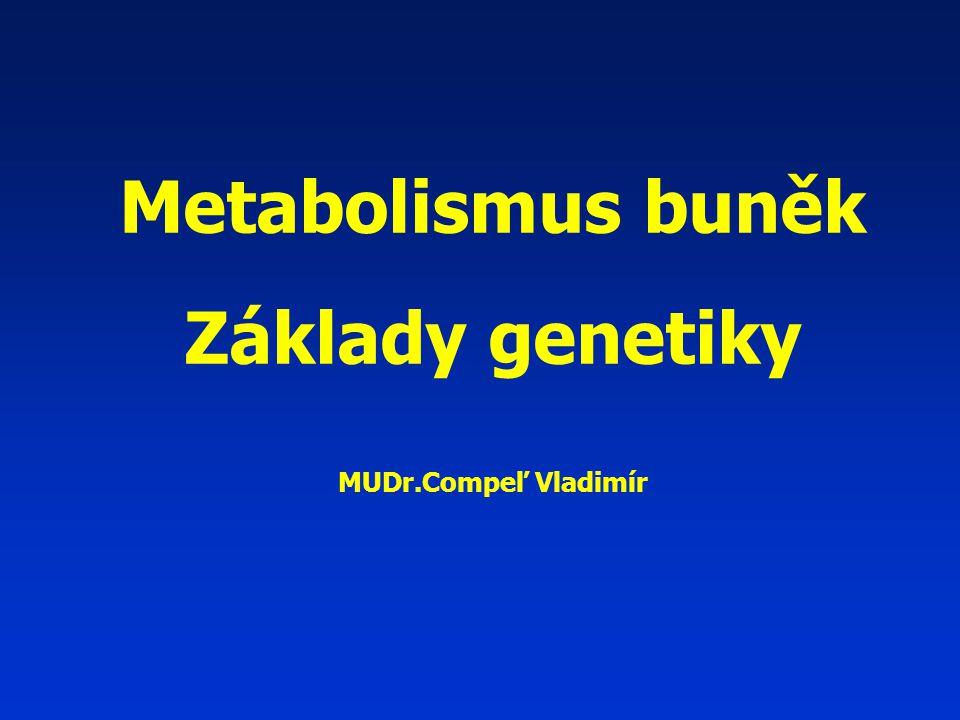 Metabolismus buněk Základy genetiky MUDr.Compeľ Vladimír