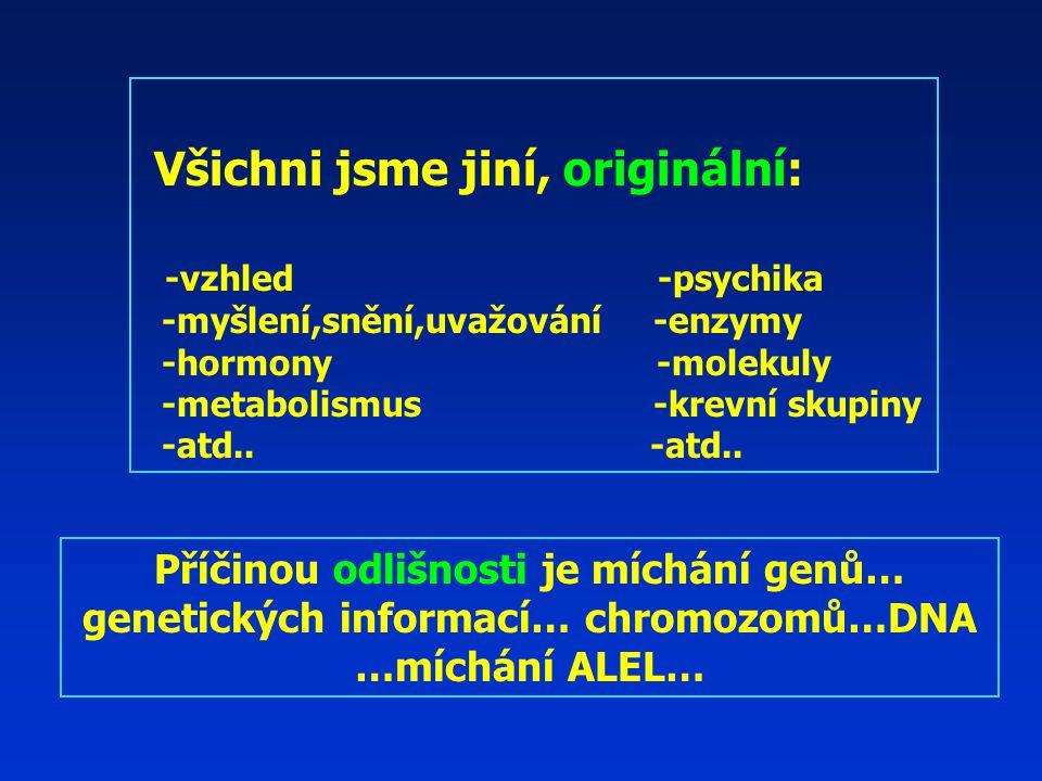 Všichni jsme jiní, originální: -vzhled -psychika -myšlení,snění,uvažování -enzymy -hormony -molekuly -metabolismus -krevní skupiny -atd..