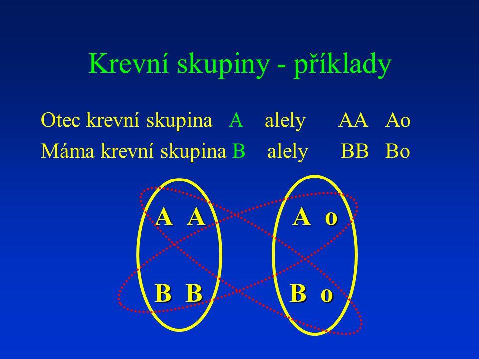 Krevní skupiny - příklady Otec krevní skupina A alely AA Ao Máma krevní skupina B alely BB Bo A A A o B B B o B B B o
