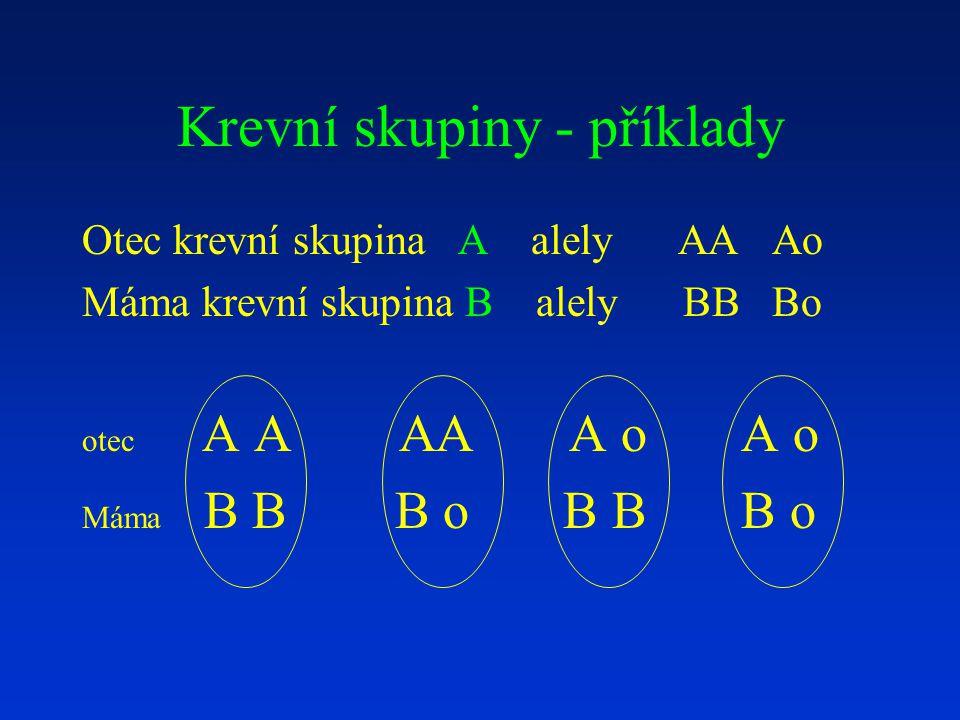 Krevní skupiny - příklady Otec krevní skupina A alely AA Ao Máma krevní skupina B alely BB Bo otec A A AA A o A o Máma B B B o B B B o