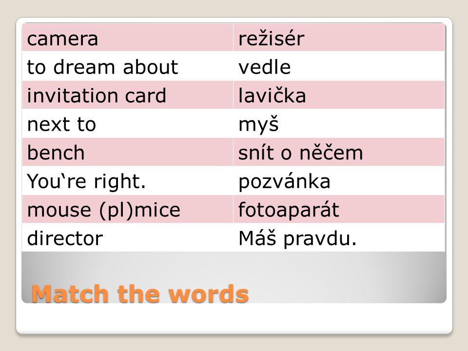 Match the words camcorder, video camera mezi to have a partyletět betweenza to dreamsvíčka to flyvideokamera behindsnít candlepřed in front ofmít večírek