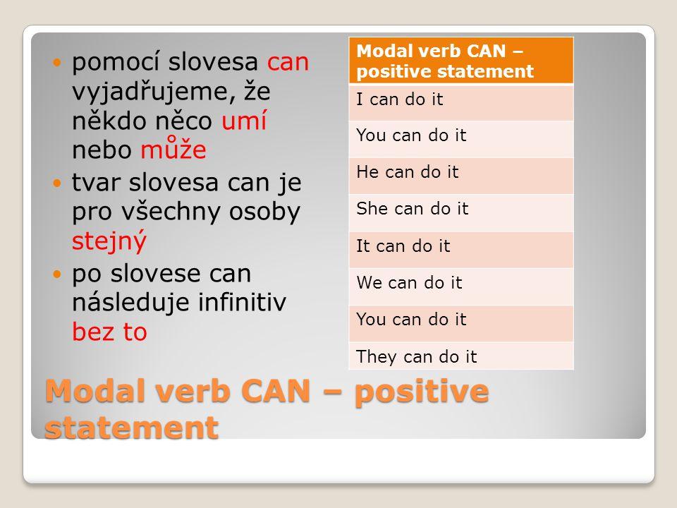 Modal verb CAN – negative statement zápor tvoříme přidáním slovíčka not mezi can a infinitiv tvar slovesa can v záporu je opět pro všechny osoby stejný Plný tvarStažený tvar I can not do itI can't do it You can not do itYou can't do it He can not do itHe can't do it She can not do itShe can't do it It can not do itIt can't do it We can not do itWe can't do it You can not do itYou can't do it They can not do itThey can't do it