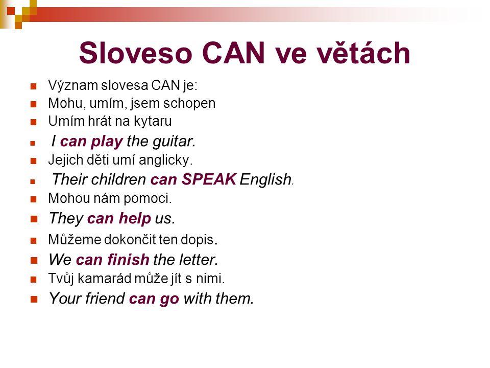 Záporné věty se slovesem CAN Zápor slovesa CAN je CANNOT, častěji se používá stažený tvar CAN´T Pozor na výslovnost.