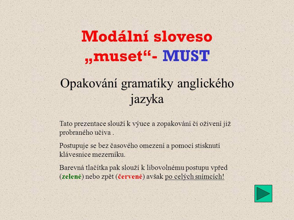Způsobová slovesa v angličtině MUST Ing. Ivo REJC 25.12. 2013