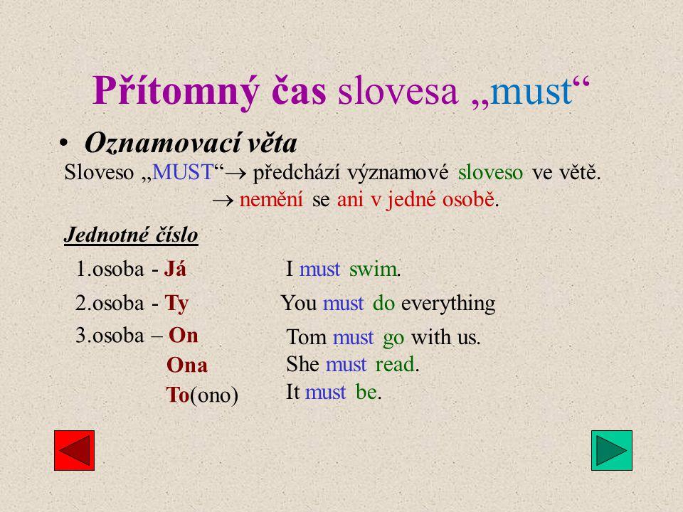 """Sloveso """"MUST """" Sloveso """"MUST """"  mast   m má několik podobných významů, ve kterých se mírně liší. a) Přísný závazek = musím ( obligation ) - Dnes"""