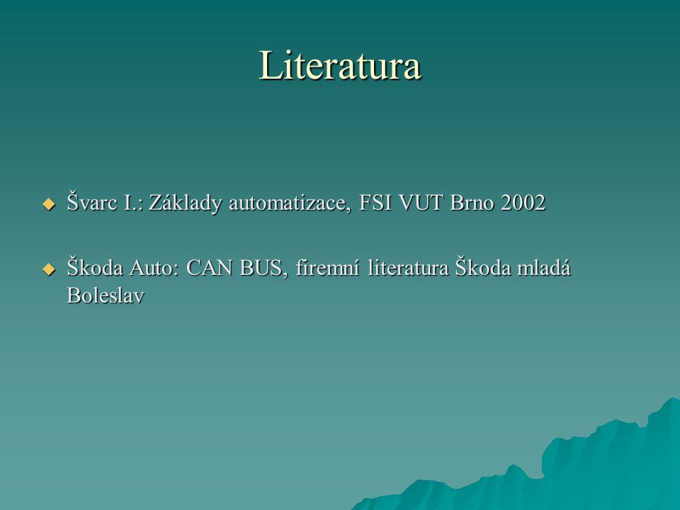 Literatura  Švarc I.: Základy automatizace, FSI VUT Brno 2002  Škoda Auto: CAN BUS, firemní literatura Škoda mladá Boleslav