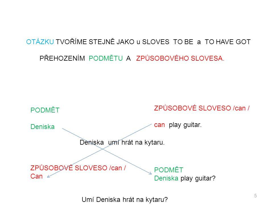 5 PODMĚT Deniska ZPŮSOBOVÉ SLOVESO /can / can play guitar. OTÁZKU TVOŘÍME STEJNĚ JAKO u SLOVES TO BE a TO HAVE GOT PŘEHOZENÍM PODMĚTU A ZPŮSOBOVÉHO SL