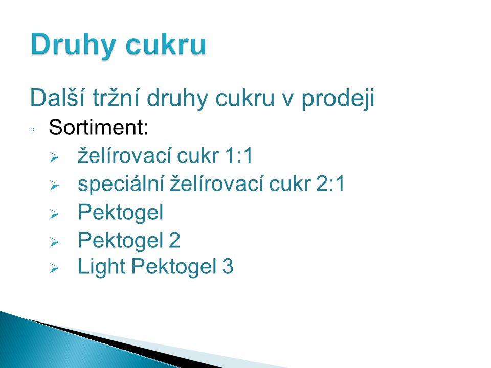 Další tržní druhy cukru v prodeji ◦ Sortiment:  želírovací cukr 1:1  speciální želírovací cukr 2:1  Pektogel  Pektogel 2  Light Pektogel 3