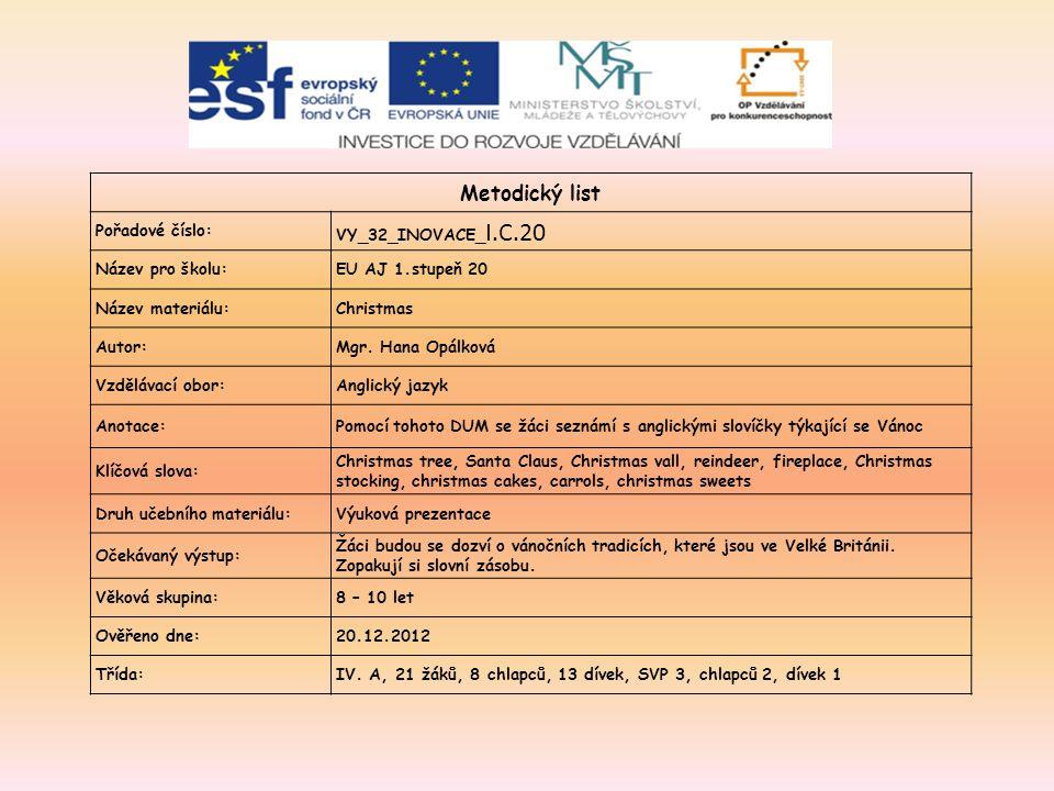 Metodický list Pořadové číslo: VY_32_INOVACE_ I.C.20 Název pro školu:EU AJ 1.stupeň 20 Název materiálu:Christmas Autor:Mgr.