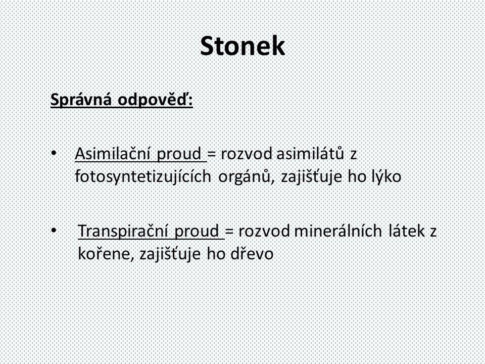 Stonek Správná odpověď: Asimilační proud = rozvod asimilátů z fotosyntetizujících orgánů, zajišťuje ho lýko Transpirační proud = rozvod minerálních lá