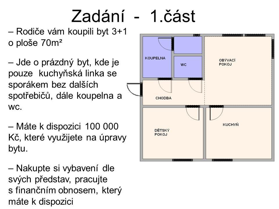 Zadání - 1.část – Rodiče vám koupili byt 3+1 o ploše 70m² – Jde o prázdný byt, kde je pouze kuchyňská linka se sporákem bez dalších spotřebičů, dále koupelna a wc.