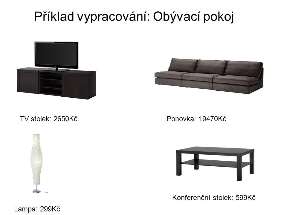 Příklad vypracování: Obývací pokoj Pohovka: 19470KčTV stolek: 2650Kč Konferenční stolek: 599Kč Lampa: 299Kč
