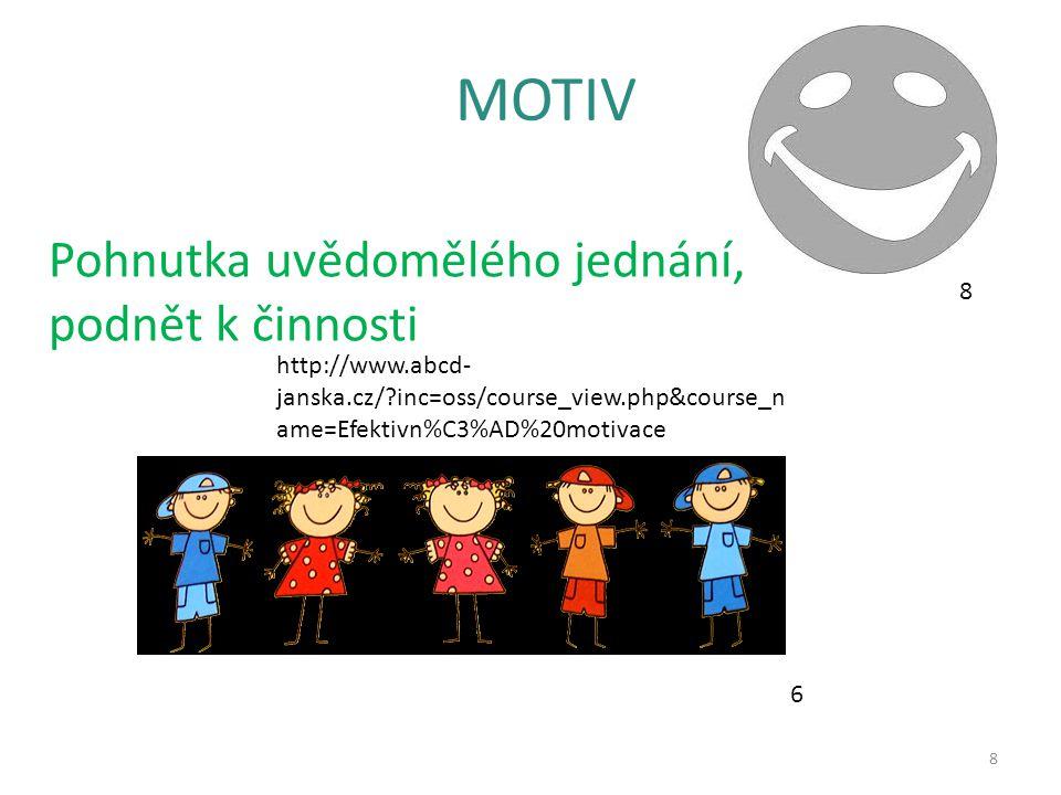 MOTIV 8 Pohnutka uvědomělého jednání, podnět k činnosti http://www.abcd- janska.cz/?inc=oss/course_view.php&course_n ame=Efektivn%C3%AD%20motivace 6 8