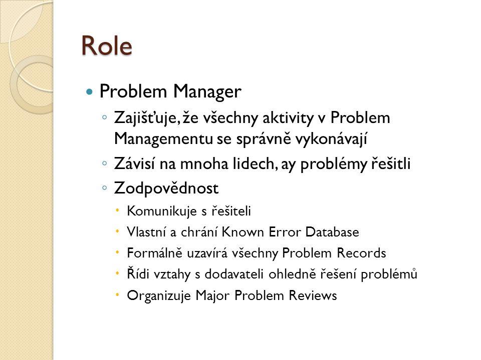 Role Problem Manager ◦ Zajišťuje, že všechny aktivity v Problem Managementu se správně vykonávají ◦ Závisí na mnoha lidech, ay problémy řešitli ◦ Zodpovědnost  Komunikuje s řešiteli  Vlastní a chrání Known Error Database  Formálně uzavírá všechny Problem Records  Řídi vztahy s dodavateli ohledně řešení problémů  Organizuje Major Problem Reviews