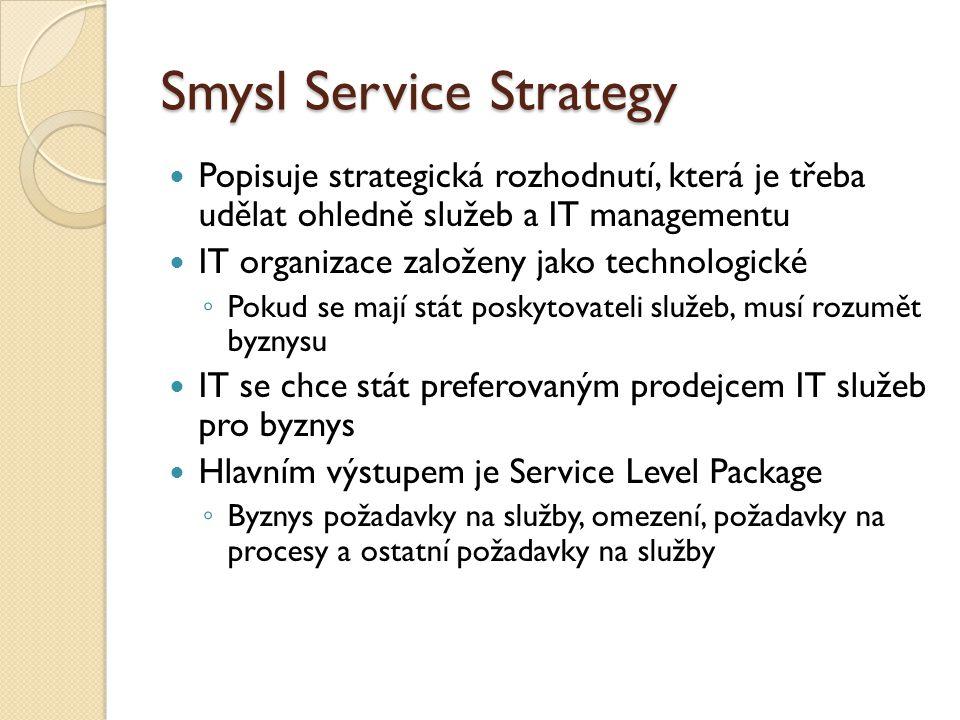 Smysl Service Strategy Popisuje strategická rozhodnutí, která je třeba udělat ohledně služeb a IT managementu IT organizace založeny jako technologické ◦ Pokud se mají stát poskytovateli služeb, musí rozumět byznysu IT se chce stát preferovaným prodejcem IT služeb pro byznys Hlavním výstupem je Service Level Package ◦ Byznys požadavky na služby, omezení, požadavky na procesy a ostatní požadavky na služby