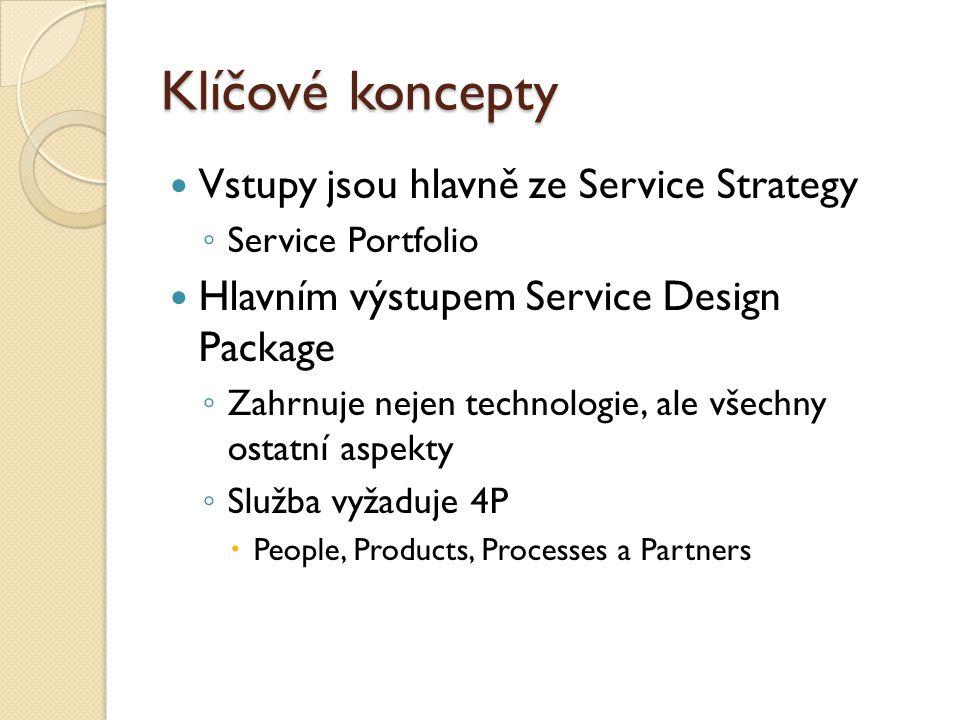 Klíčové koncepty Vstupy jsou hlavně ze Service Strategy ◦ Service Portfolio Hlavním výstupem Service Design Package ◦ Zahrnuje nejen technologie, ale všechny ostatní aspekty ◦ Služba vyžaduje 4P  People, Products, Processes a Partners