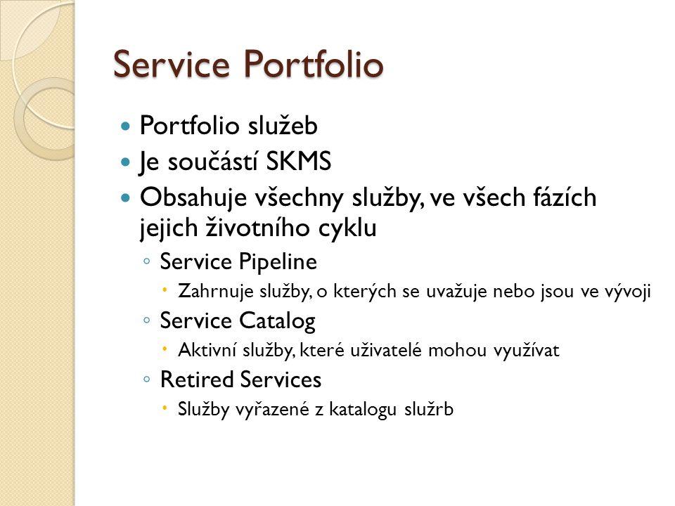 Service Portfolio Portfolio služeb Je součástí SKMS Obsahuje všechny služby, ve všech fázích jejich životního cyklu ◦ Service Pipeline  Zahrnuje služby, o kterých se uvažuje nebo jsou ve vývoji ◦ Service Catalog  Aktivní služby, které uživatelé mohou využívat ◦ Retired Services  Služby vyřazené z katalogu služrb